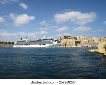 Valletta, OCT 12: The cruise chip Celebrity Equinox anchored off Valletta on Oct 12, 2014 in MALTA. Equinox is a Solstice-class cruise ship owned by Celebrity Cruises, entered service from 2009