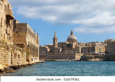 Valletta skyline with the Carmelite Church dome and St. Pauls Anglican Cathedral, Valletta, Malta