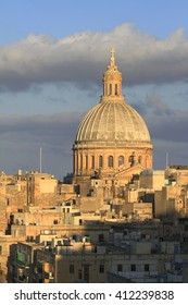 Valletta skyline with the St. Pauls Cathedral and The Basilica of Our Lady of Mount Carmel, Malta