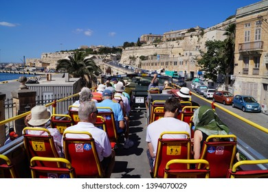 Valletta/Malta.  July /16/2014. Hop on hop off bus, an attractive form of sightseeing.