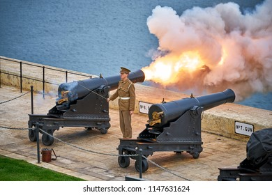 VALLETTA/MALTA - November 23, 2017: Cannon of the Saluting Battery shooting in the evening in Valletta