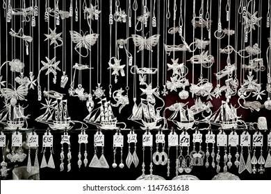 VALLETTA/MALTA - November 23, 2017: Traditional maltese silver filigree jewelry on the counter