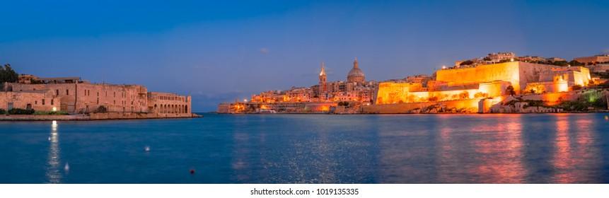 Valletta,Sliema,Malta: Cityscape over the Marsamxett Harbour from Sliema