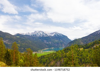 Valley of Achenkirch, with lake Achensee, Austria, areal view