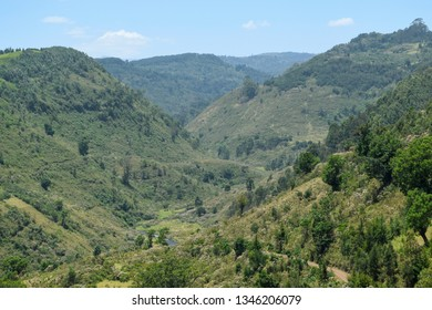 Valley against a mountain background, Chania River in Aberdare Ranges, Kenya