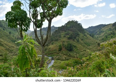 Valley against a mountain, Chania River in Aberdare Ranges, Kenya