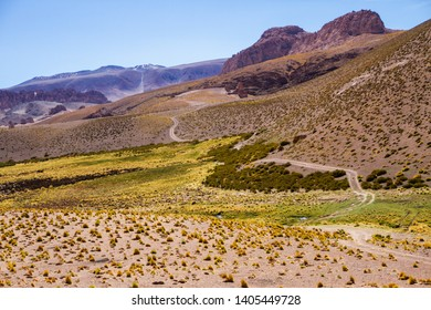 A valley in an arid scenery
