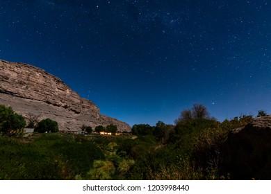 valley in the atacama desert to light of the moon