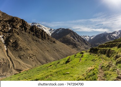 Valley of Azib Likemt in the middle of Toubkal circuit (place of second campground), High Atlas Mountains, Morocco