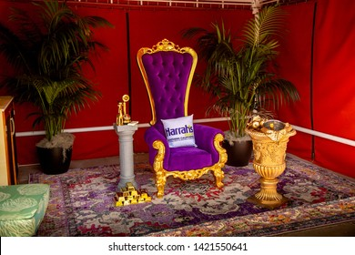 Valley Center, California/United States - 05/15/2019: The mayor's chair setup in a cabana during the Funner Mayor 2019 event