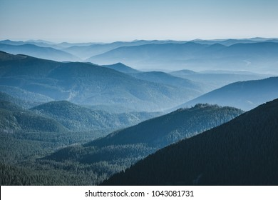 The valley is covered with dense forest. Location Carpathian national park, Ukraine, Europe. Scenic image of beautiful nature landscape, amazing mountain view. Discover the beauty of earth.