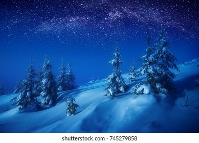 The valley covered with fresh snow in a moonlight. Milky way in a starry sky. Christmas and New Year winter night.
