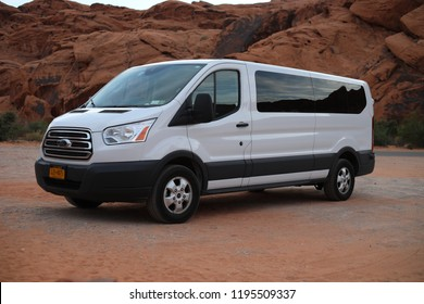 Valley of Fire, Nevada - August 29, 2018: a 15-seat Ford Transit XLT Passenger Wagon with 3.5L EcoBoost V6 engine, 2018 model
