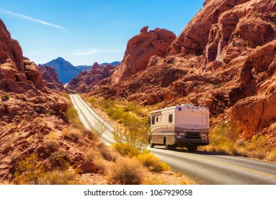 Valley of Fire, Nevada, USA - December 29, 2017 : Motorhome trailer traveling on the road in Valley of Fire in Nevada