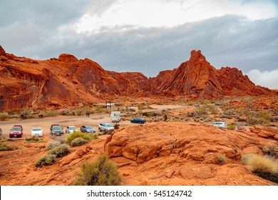 Valley of Fire State Park, Nevada, USA - December 23, 2016:  Panorama of the many spectacular red rock formations found in this state park located near Overton, and 55 miles northeast of Las Vegas.