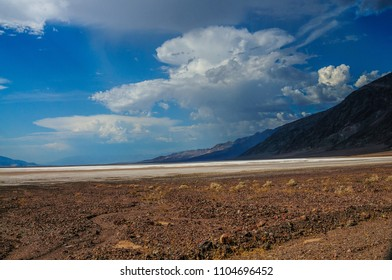 The valley floor at Badwater, Death Valley. This is the lowest point in the continental USA, seen here on a hot August Afternoon.