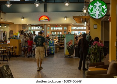 Valley Forge, PA – June 20, 2016: Starbucks coffeehouse location at a rest stop and travel plaza on the Pennsylvania Turnpike.