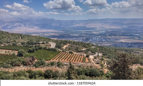 Valley of Galilee, in the background, the Golan Heights. Very close to the border with Lebanon.  September 2018
