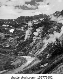 Valley of Geysers, Kamchatka, Russia (black and white)