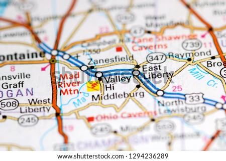 Valley Hi Ohio USA On Map Stock Photo (Edit Now) 1294236289 ... on
