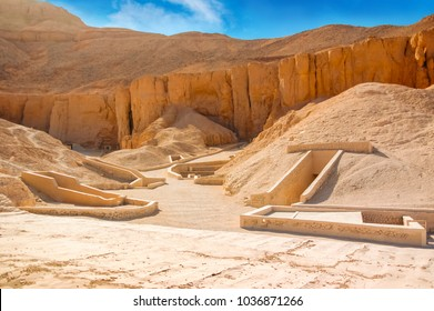 Valley of kings. The tombs of the pharaohs. Tutankhamun. Luxor. Egypt. Ancient monument of architecture. Museum. Excavation. Vacation holidays background wallpaper