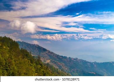 Valley with Langtang range of Himalaya from Nagarkot village, Nepal