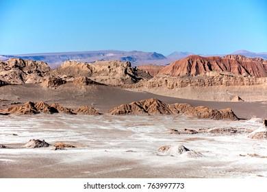 Valley of the Moon (Valle de la Luna) in the Atacama Desert in Chile as seen from the high dune