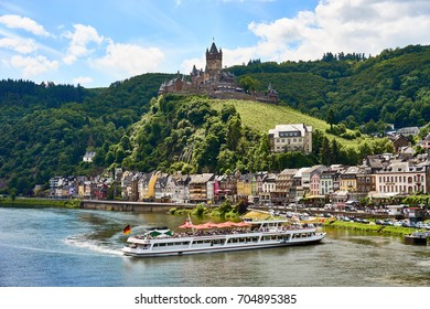 "Valley of Moselle in germany / City of Cochem with ""Reichsburg Castle"" in wine growing area of Moselle"