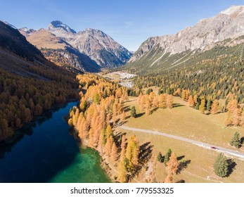 Valley with mountain lake in swiss national park