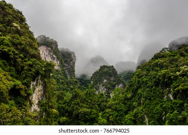 Valley of Mountain with mist on the air sky space in the southern of Thailand