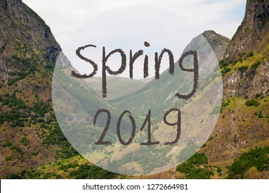Valley And Mountain In Norway, Text Spring 2019