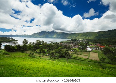 Valley with mountains and lake (Batur) in caldera