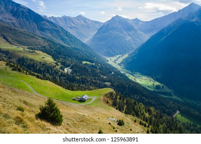 Valley and mountains, South Tirol, Italy