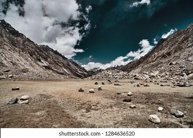 Valley and Mountains View in Himalaya. Gaumukh glacier, Gangotri, Uttarakhand, India.