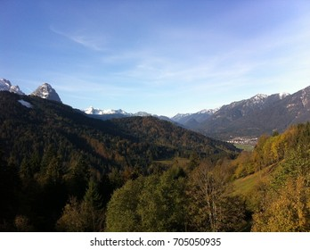 A Valley near Garmisch, located in Upper Bavaria, Germany. Garmisch is known for its ski jumping arena for Olympiad. The photo was taken in autumn 2014.