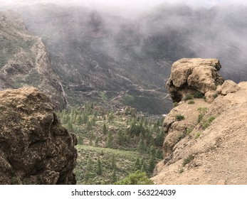 Valley next to the Roque Nublo a volcanic rock on the island of Gran Canaria
