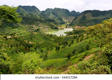 Valley of rice fields and trees in Northern Vietnam on the way to Sapa
