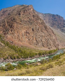 Valley of the river Chulyshman. Panorama of the big size. Altai Mountains, Siberia, Russia.