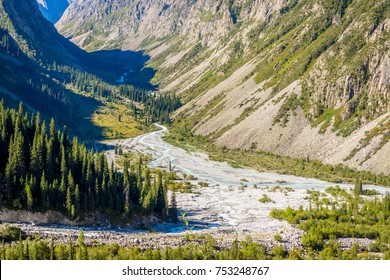 Valley with river and forest in Ala Archa national park, Kyrgyzstan