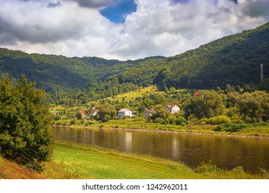 Valley of the river Labe in the Czech town of Usti nad Labem. Bohemia. Czech Republic.