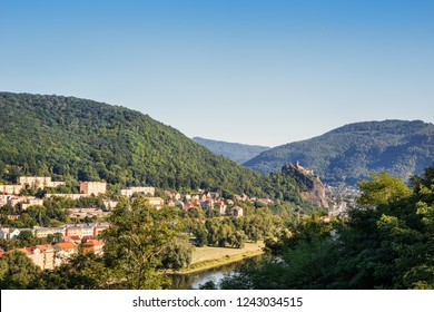 The valley of the river Labe with a view of the castle in the Czech city of Usti nad Labem. Bohemia. Czech Republic.
