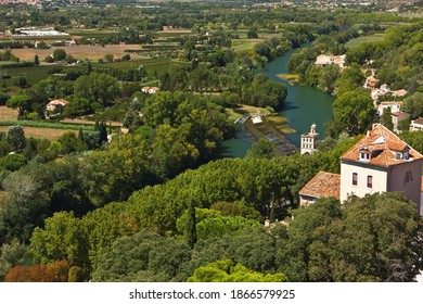 Valley of the river Orb with house near Beziers in southern France