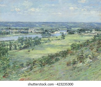 The Valley of the Seine, from the Hills of Giverny, by Theodore Robinson, 1892, American impressionist painting, oil on canvas. This work reflects the influence of Robinson's friend, French painter C