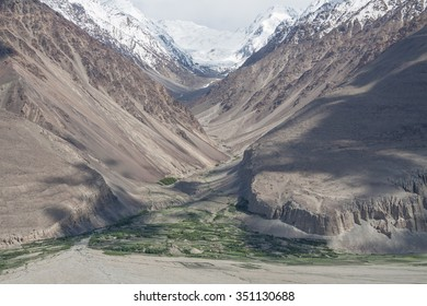 Valley and settlement in Wakhan Corridor, Afghanistan