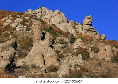 Valley of stone ghosts in the mountains Demerdzhi in the autumn Crimea