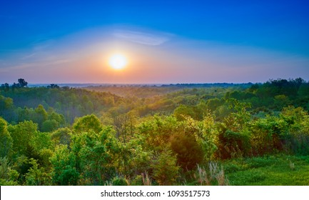 Valley with Sunrise Over Forest