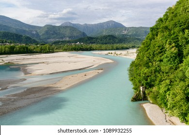Valley of Tagliamento river in Italy, view from above with mountains on a background.