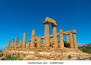 Valley of the Temples (Valle dei Templi) -  Temple of Hera Lacinia (Juno),  an ancient Greek Doric Temple,  Agrigento, Sicily