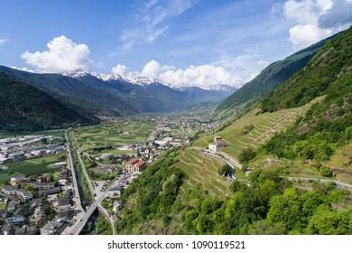 Valley of Valtellina, Italian Alps. Panoramic view, vineyards