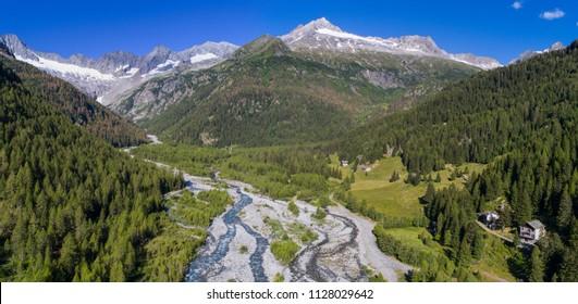 Valley, Valtellina. Mountain landscape, aerial photo